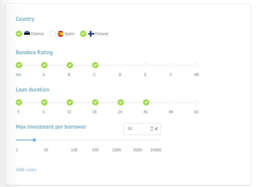 Example on how to set a Bondora portfolio pro