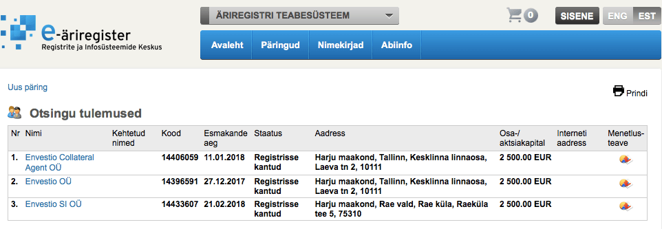 Envestio legally registered Estonia