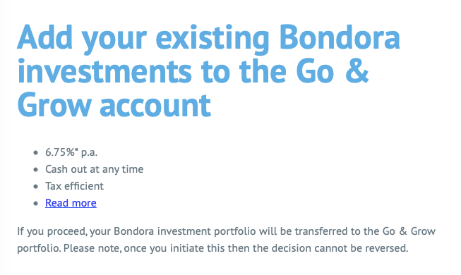 bondora how to migrate to go & grow