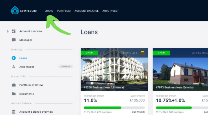 estateguru loans manually