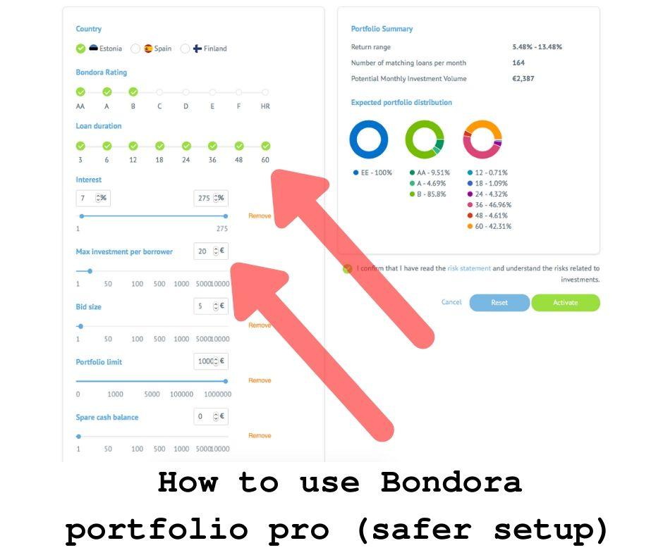 How to use Bondora portfolio pro (safe setup)