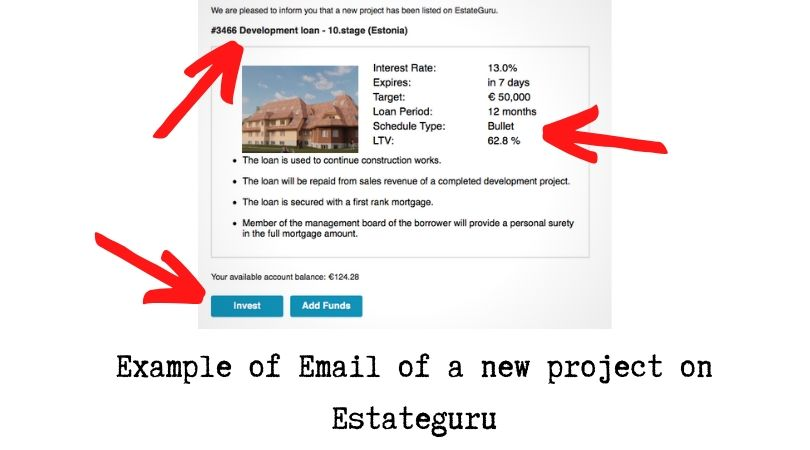 Example of Email of a new project on Estateguru