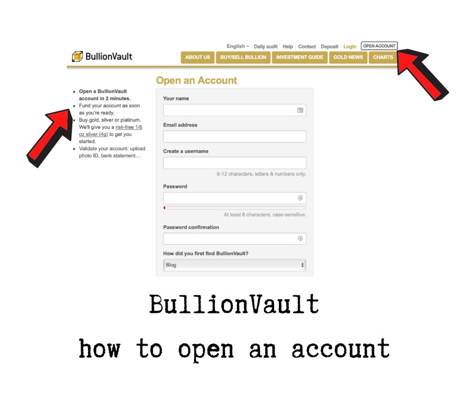 BullionVault how to Start