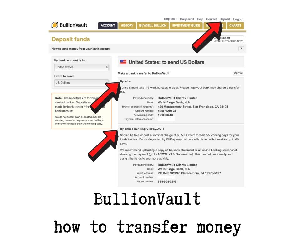 BullionVault how to transfer money
