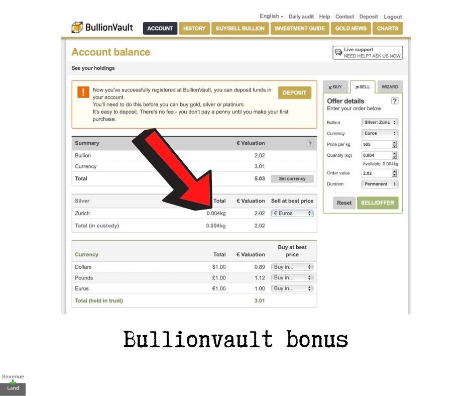 Bullionvault bonus
